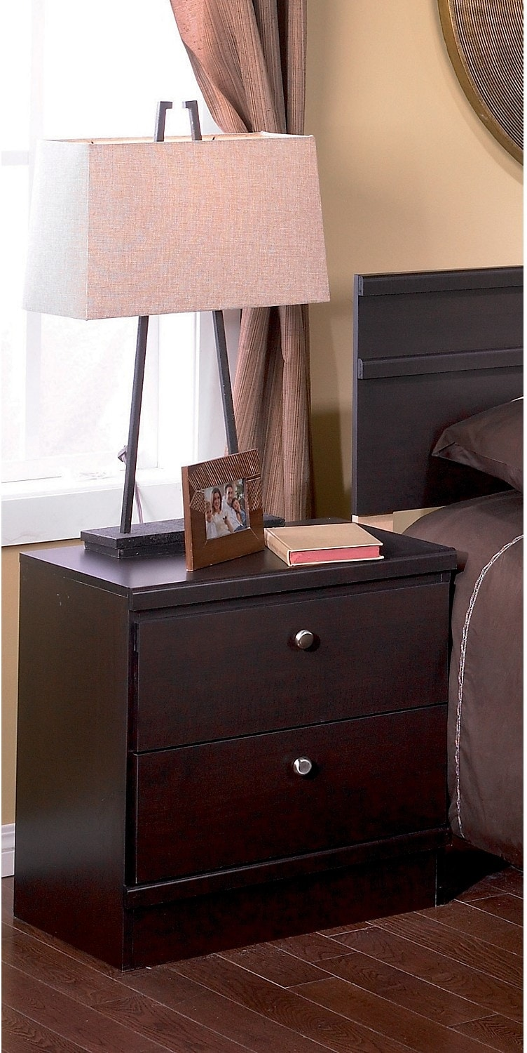Dark Saddle Birch Nightstand