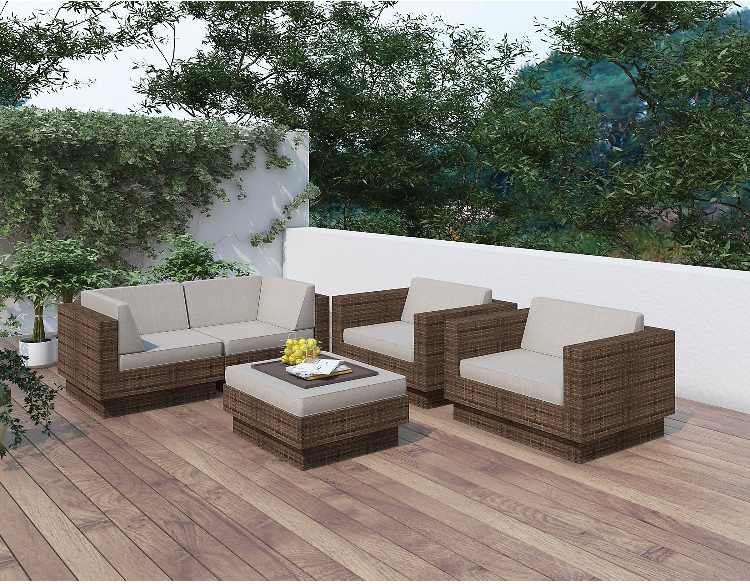 Outdoor Furniture - Parkview 5 Piece Patio Sofa Set - Brown