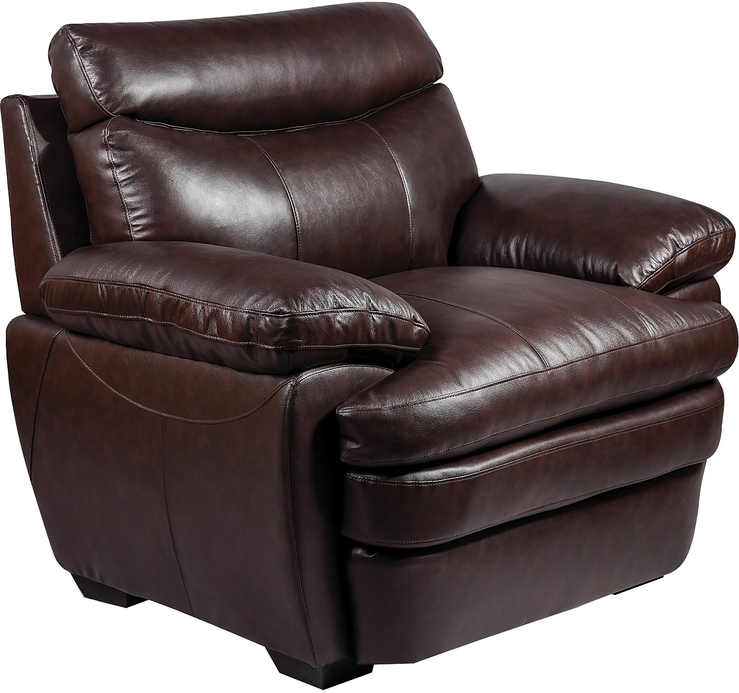 Living Room Furniture - Marty Genuine Leather Chair - Brown