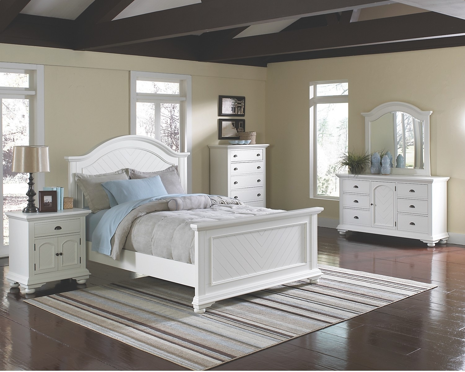 Bedroom Furniture - Brook Off-White 6-Piece King Panel Bedroom Set