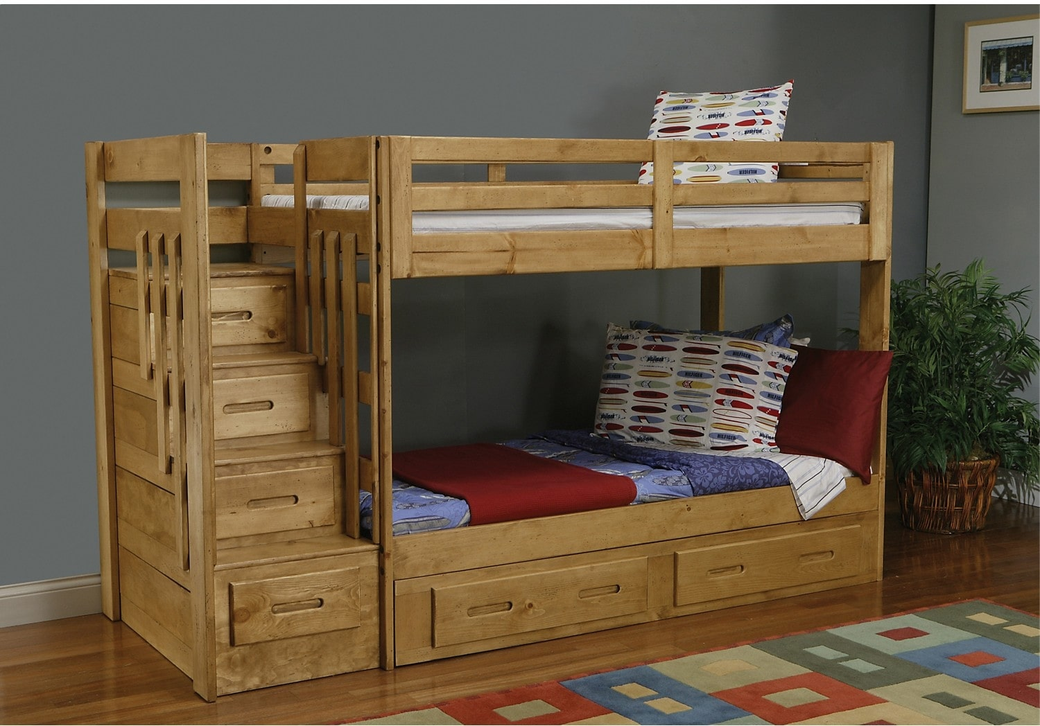 Ponderosa staircase bunk bed the brick - Bunk beds for kids ...