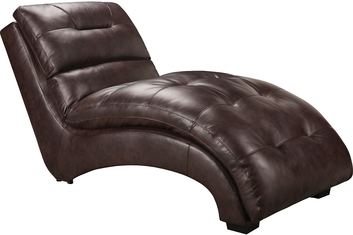 Living Room Furniture - Charlie Faux Leather Curved Chaise - Brown