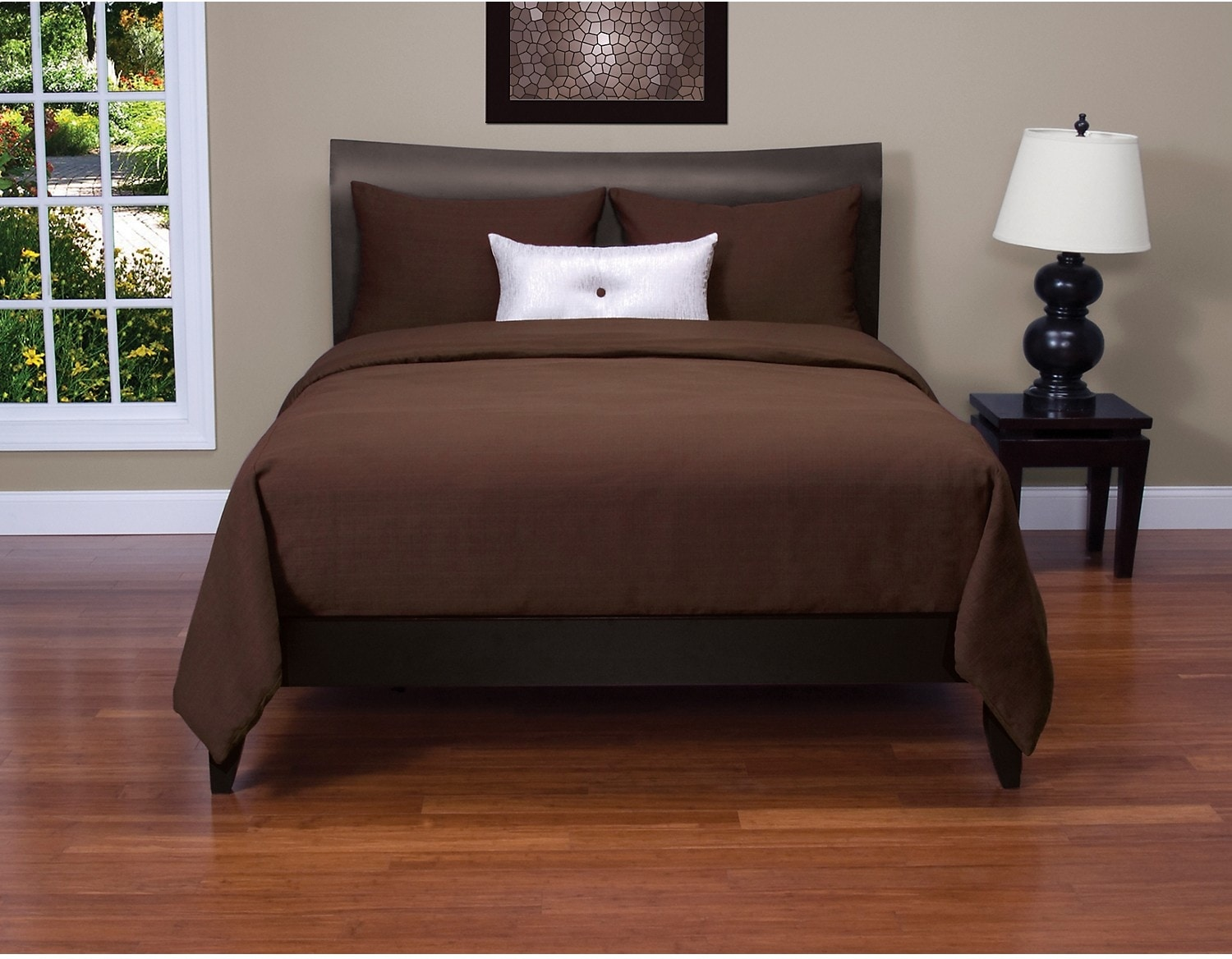 Accent and Occasional Furniture - Belfast Chocolate 4 Piece King Duvet Cover Set