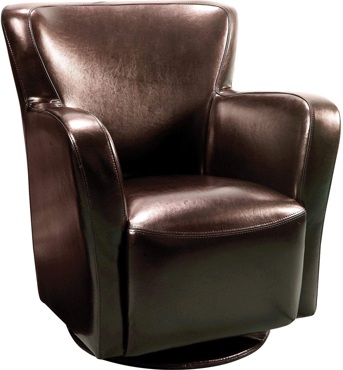 Living Room Furniture - Bonded Leather Swivel Chair - Brown