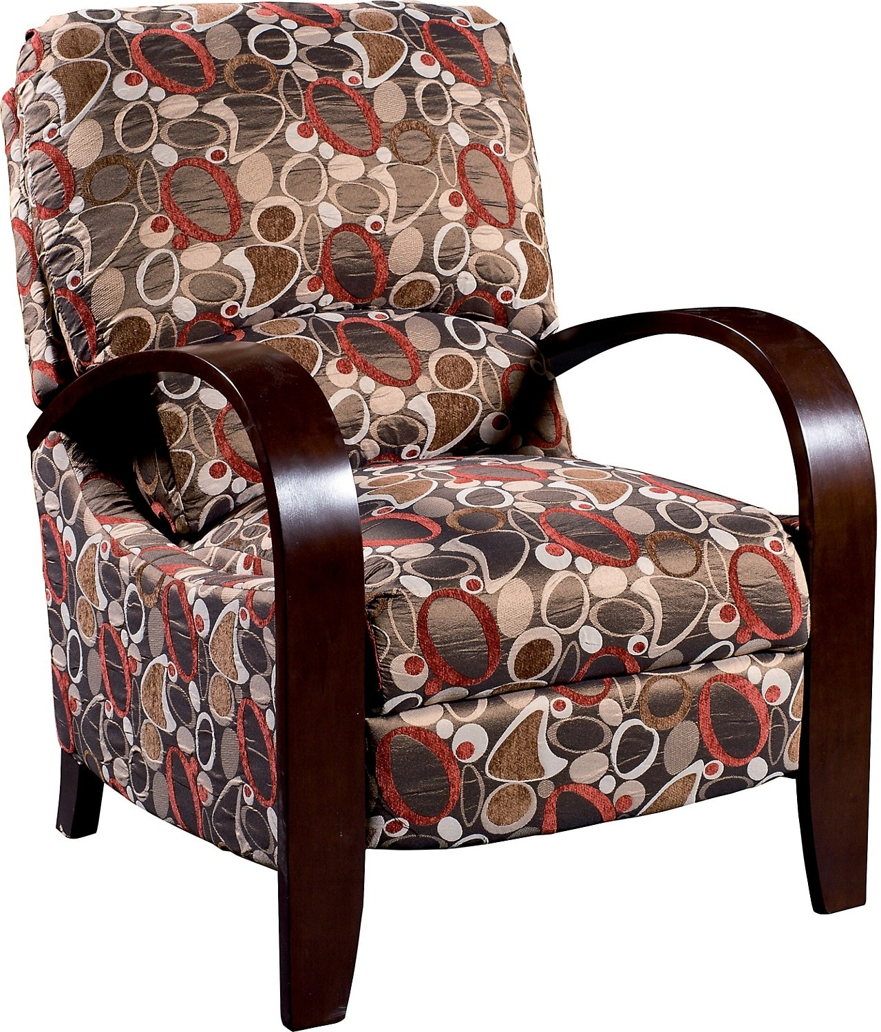 Fabric Accent Chairs: Aaron Reclining Fabric Accent Chair - Copper