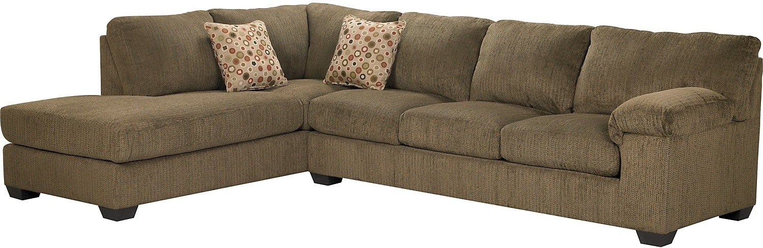 Living Room Furniture - Morty Chenille Sectional with Left Chaise - Brown