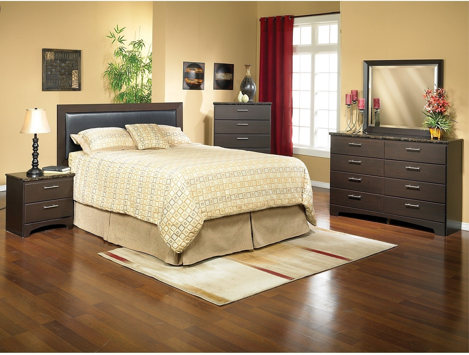 Oxford 4 piece espresso bedroom package the brick for Cheap bedroom furniture packages