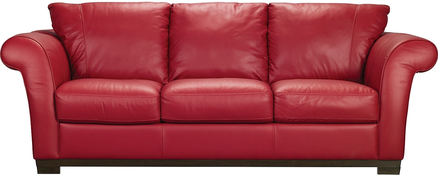 Layla Genuine Leather Sofa – Red