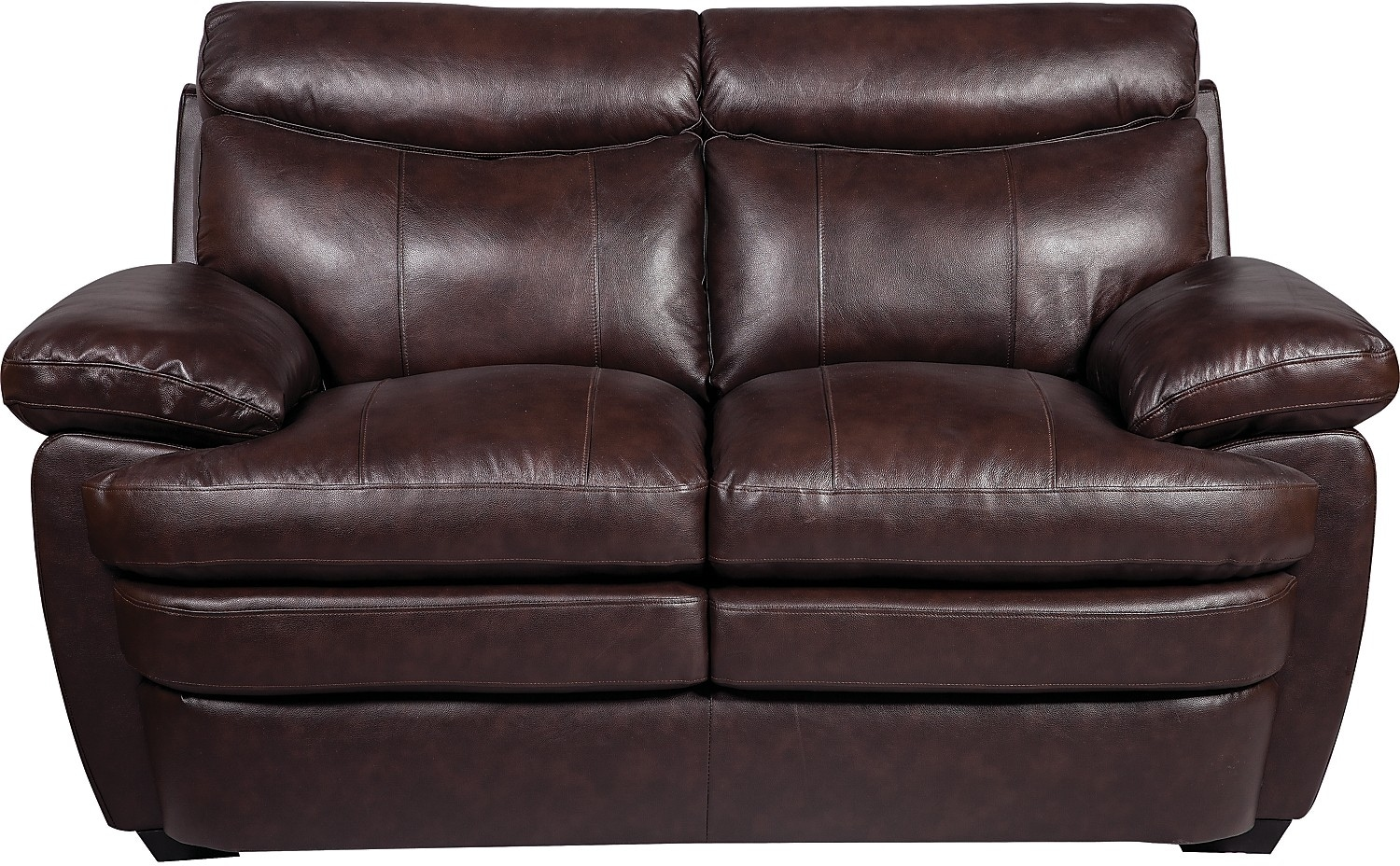 Living Room Furniture - Marty Genuine Leather Loveseat - Brown