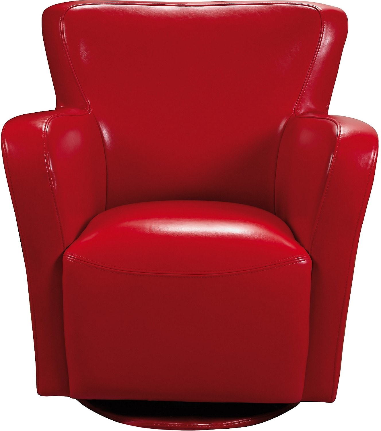 Living Room Furniture - Bonded Leather Swivel Chair - Red