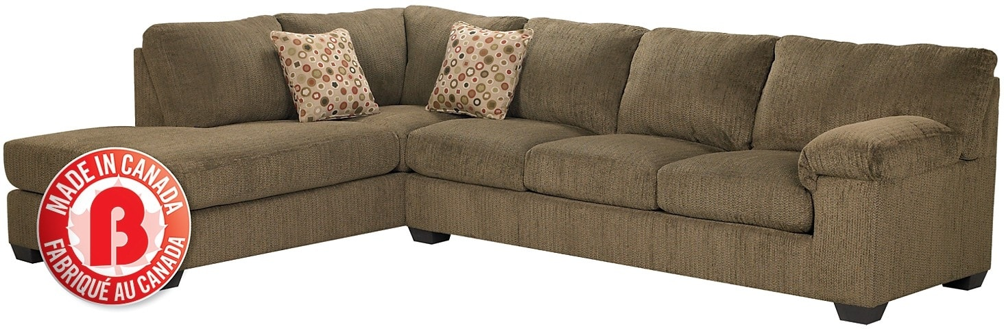 Morty chenille sectional with left chaise brown the brick for Sectional sofas the brick