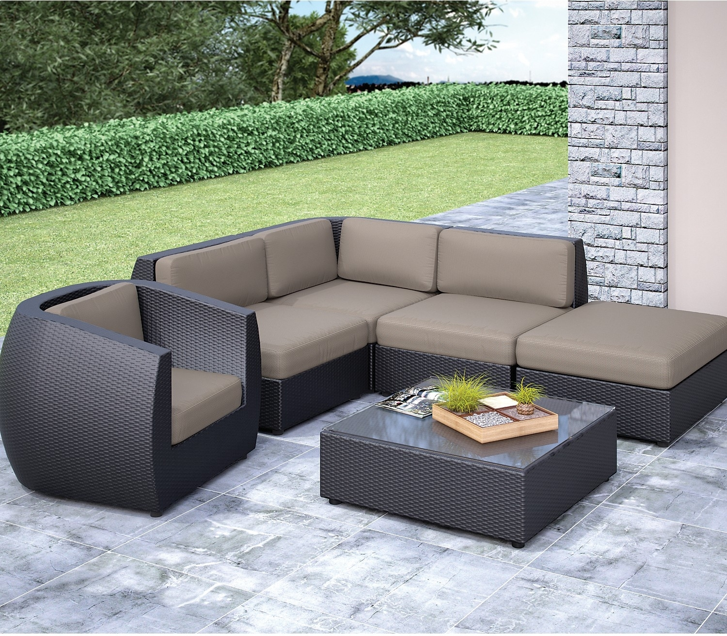 Outdoor Furniture - Seattle Sectional, Table and Chair Set