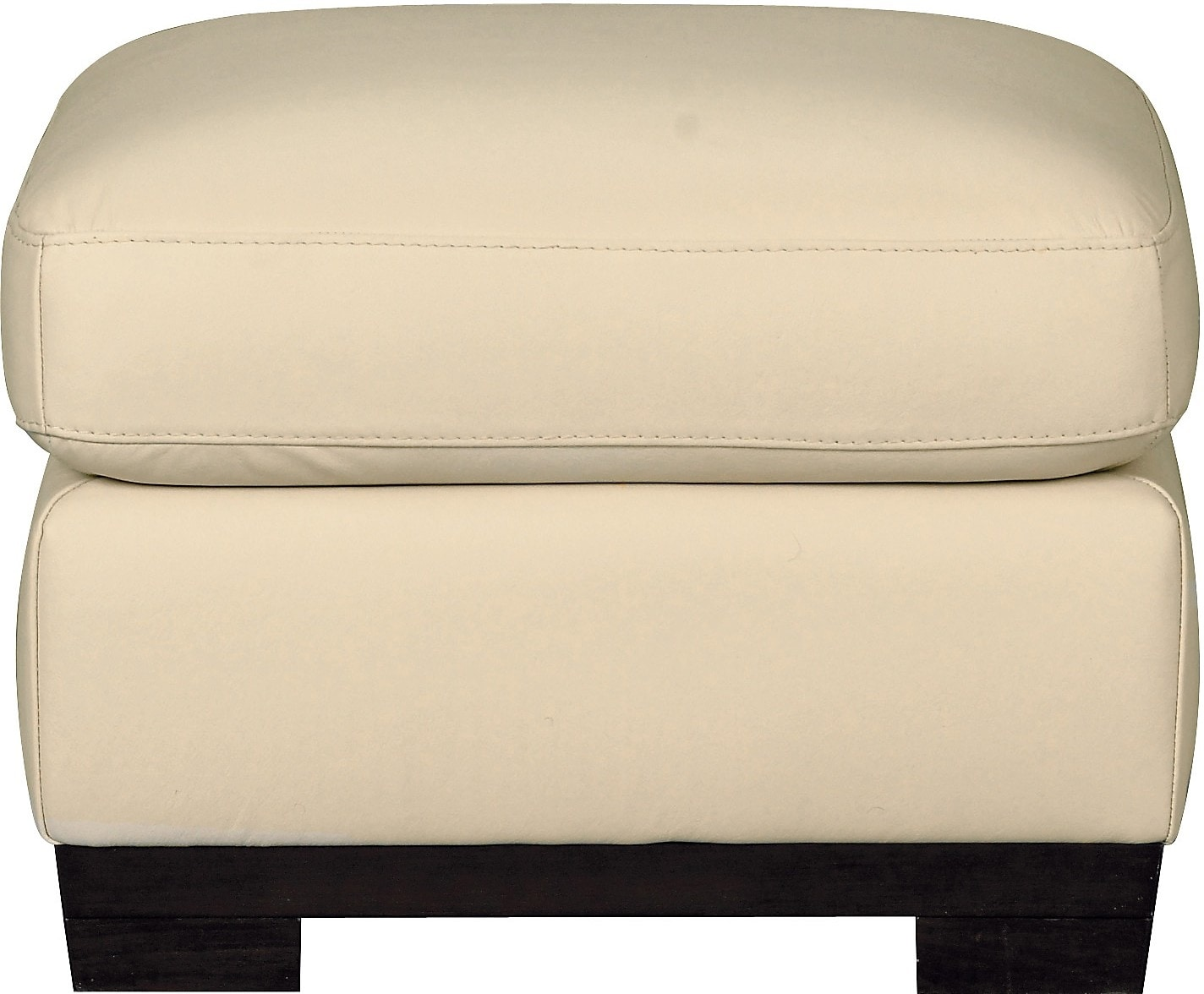 Living Room Furniture - Layla Genuine Leather Ottoman – Ivory