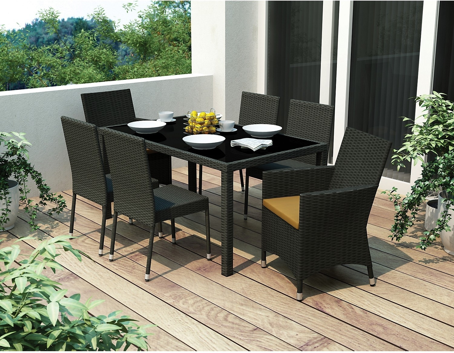 Park Terrace 7 Piece Patio Dining Set – Black