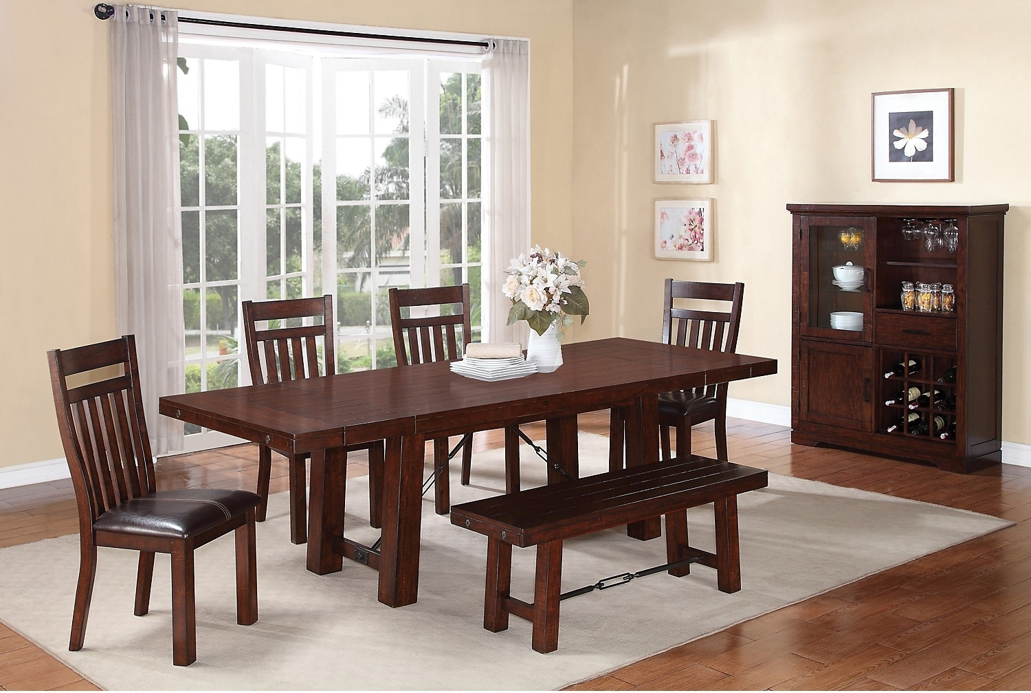 Dining Room Furniture - Sonoma 7-Piece Dining Package with Bench
