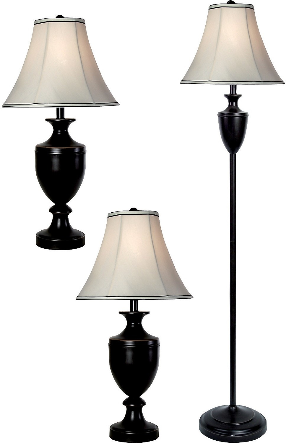 Home Accessories - Bronze-Wood Finish 3-Piece Floor and Two Table Lamps Set