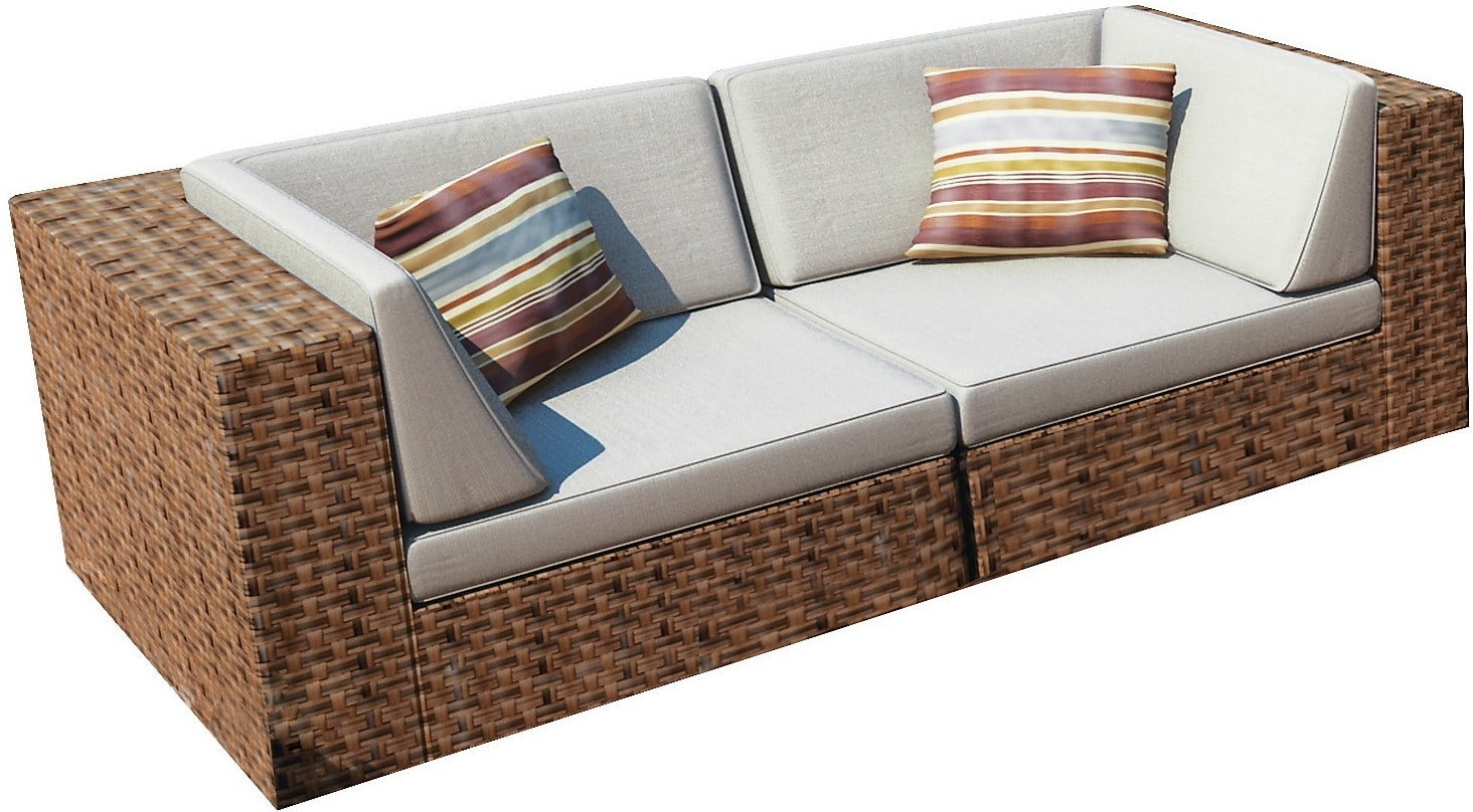 Outdoor Furniture - Parkview Patio Sofa Set - Brown