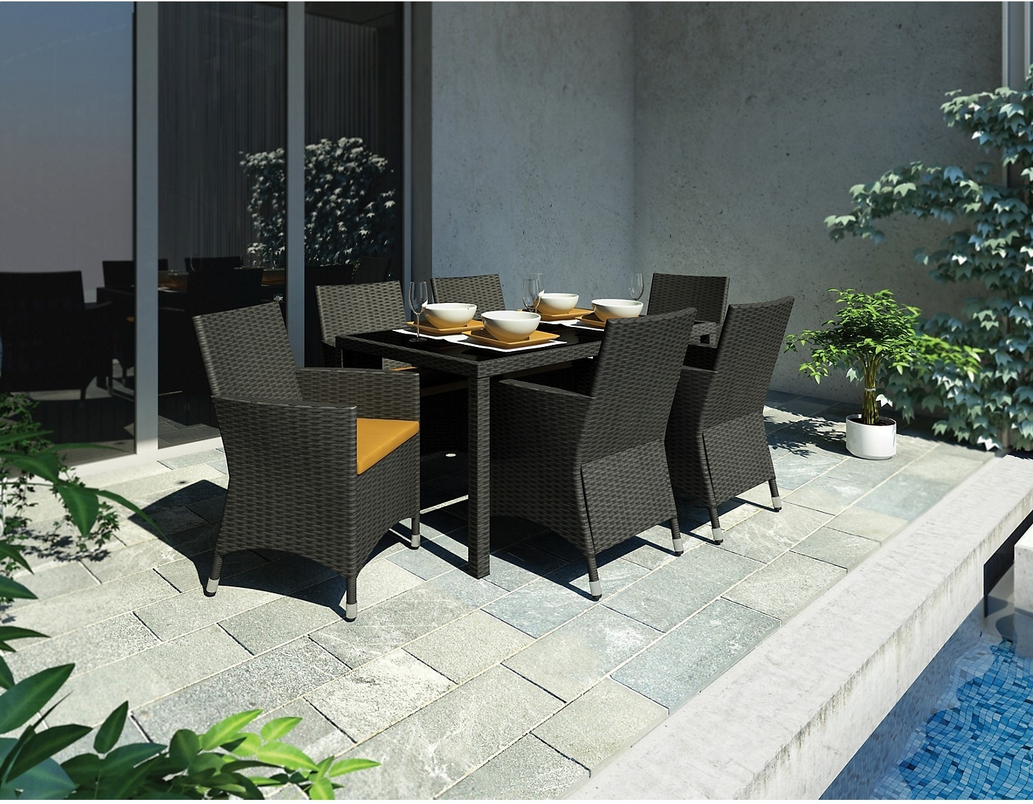 Outdoor Furniture - Park Terrace 7 Piece Patio Dining Set with Arm Chairs
