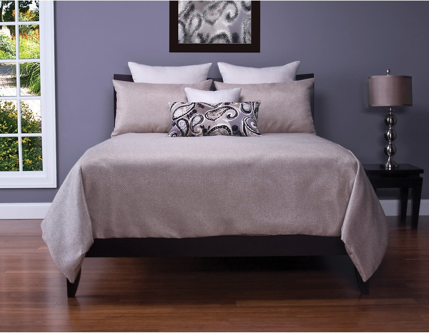 Accent and Occasional Furniture - Silk Route Lotus 7 Piece Queen Duvet Cover Set