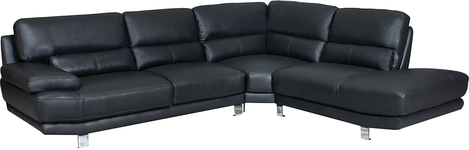Nico 3-Piece Genuine Leather Right-Facing Sectional - Grey
