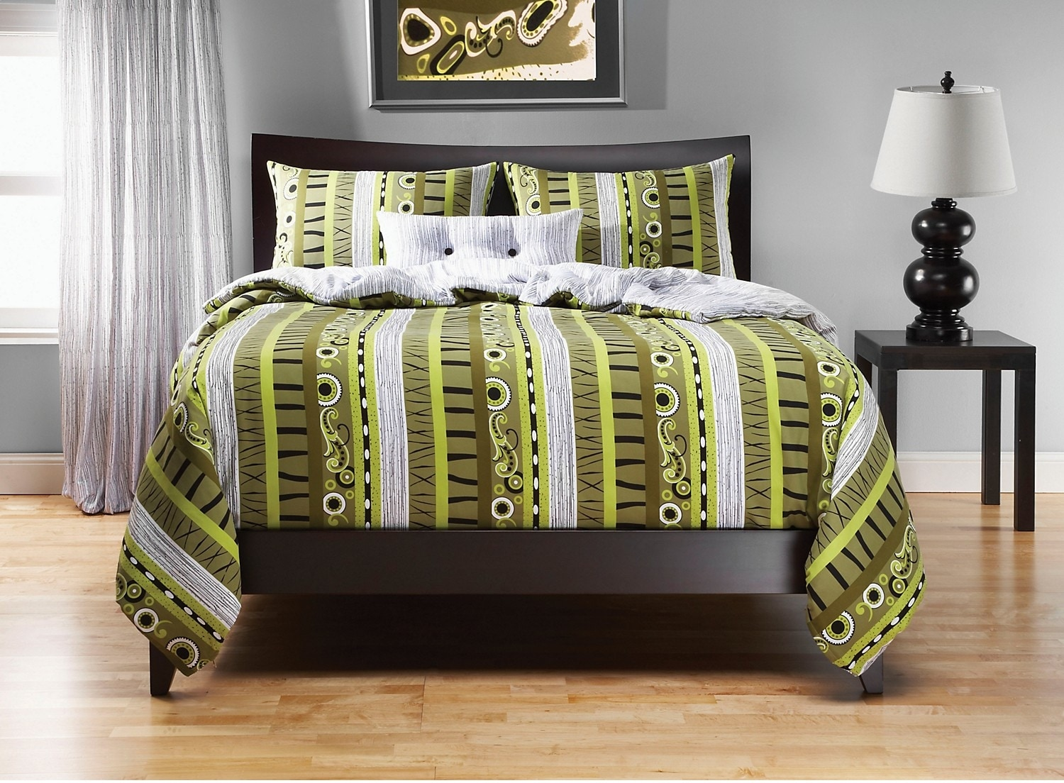 Accent and Occasional Furniture - Radiant Flux Reversible 4 Piece King Duvet Cover Set