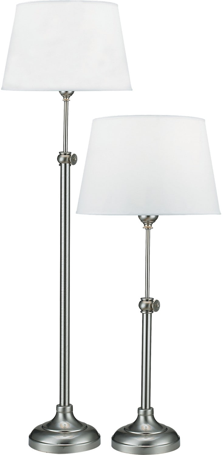 Satin Nickel 2-Piece Adjustable Floor and Table Lamp Set