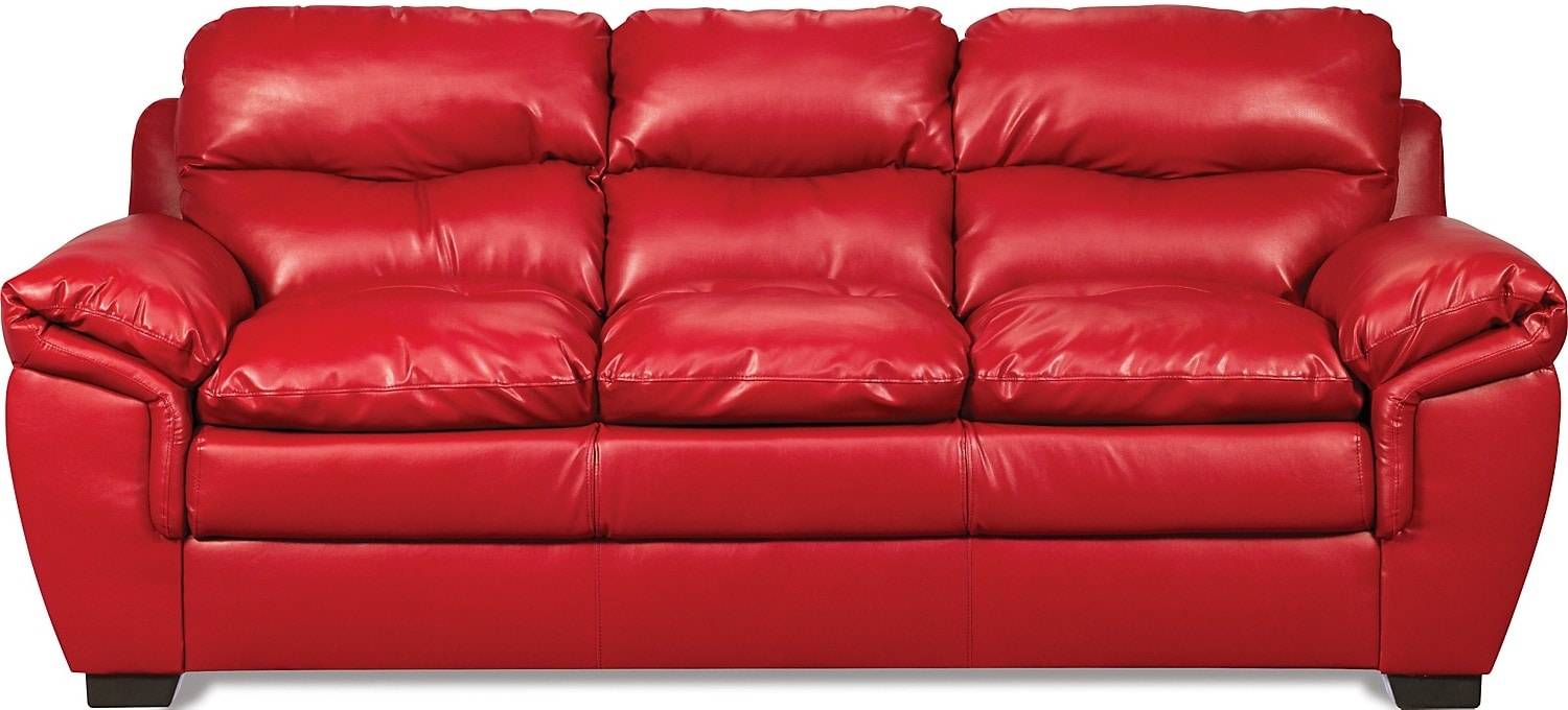 Cindy Crawford Home Grand Palazzo Red Leather Sofa Red Leather Sofa