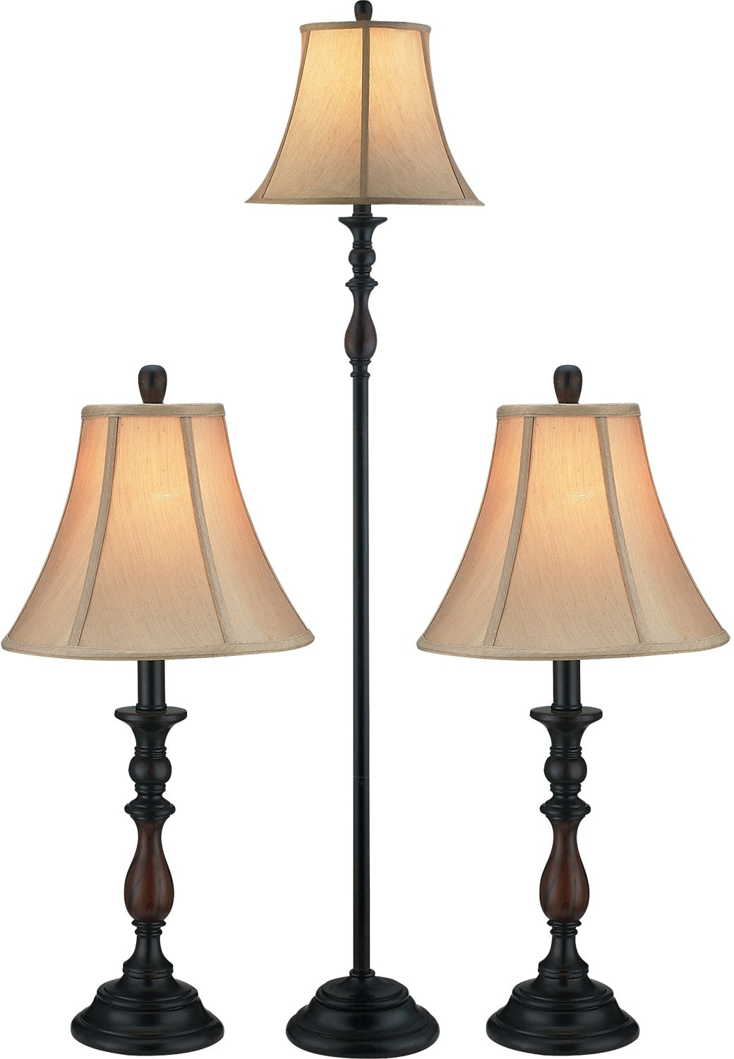 Bronze-Finish 3-Piece Floor and Two Tables Lamps Set with Bell Shade