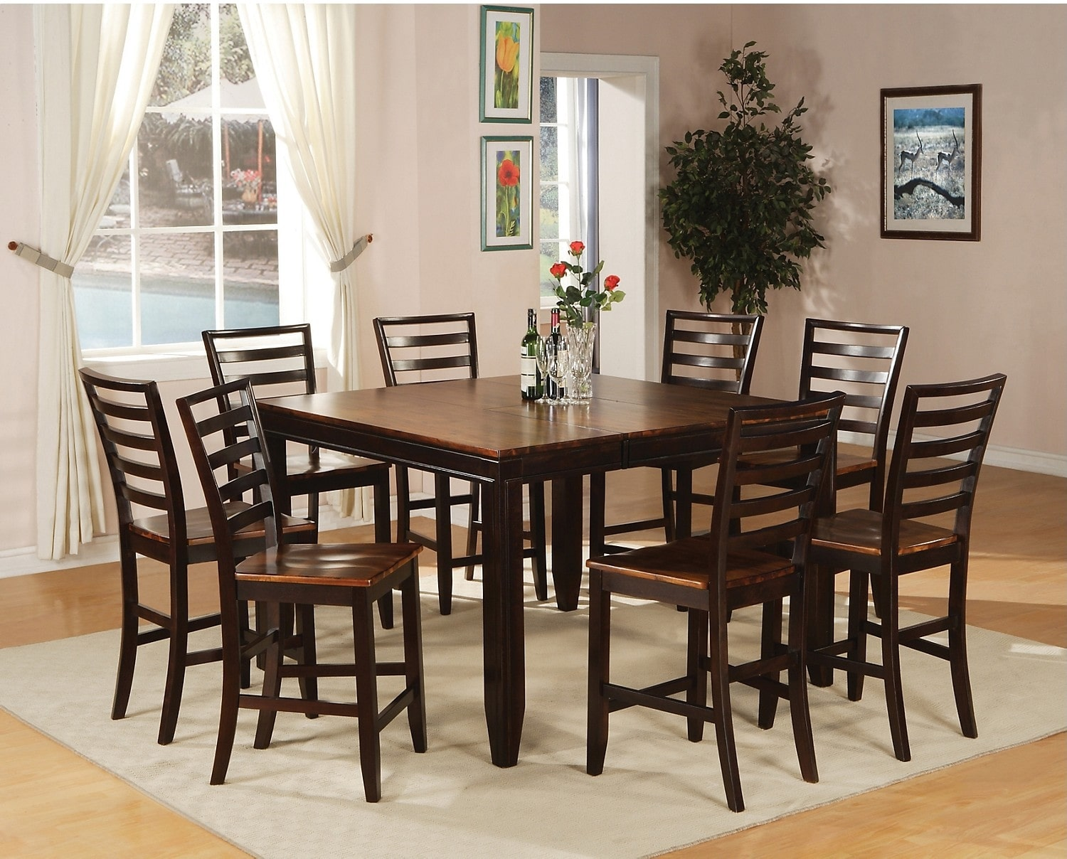Dining Room Furniture - Zara 9-Piece Counter-Height Dining Package