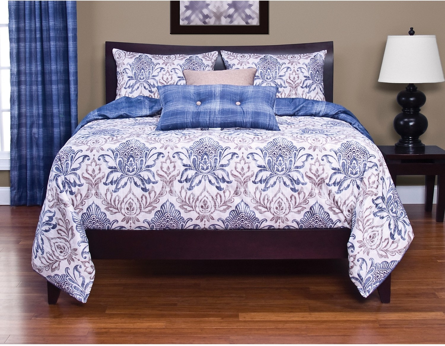 Accent and Occasional Furniture - Genoa Reversible 4 Piece Full Duvet Cover Set