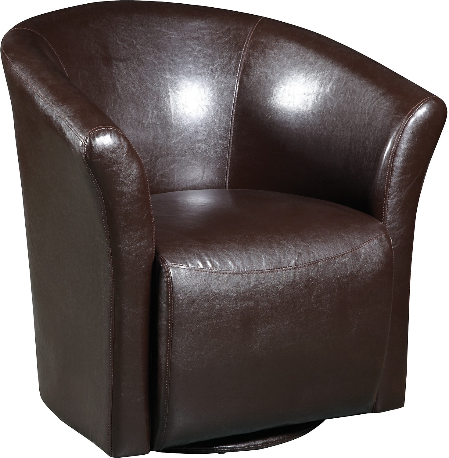 Brown swivel accent chair the brick - Swivel chair living room furniture ...