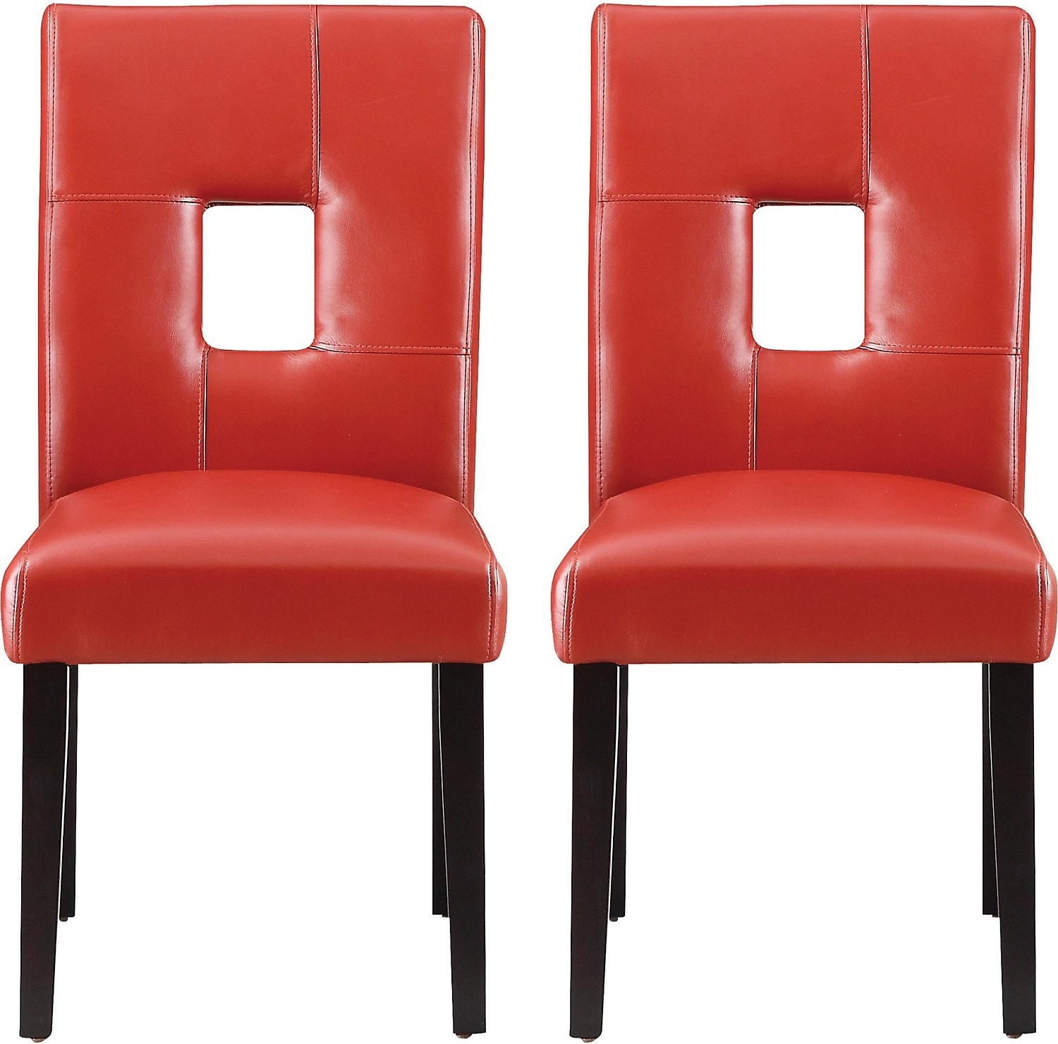 Mckena faux leather red dining chairs package of two for Red dining room chairs