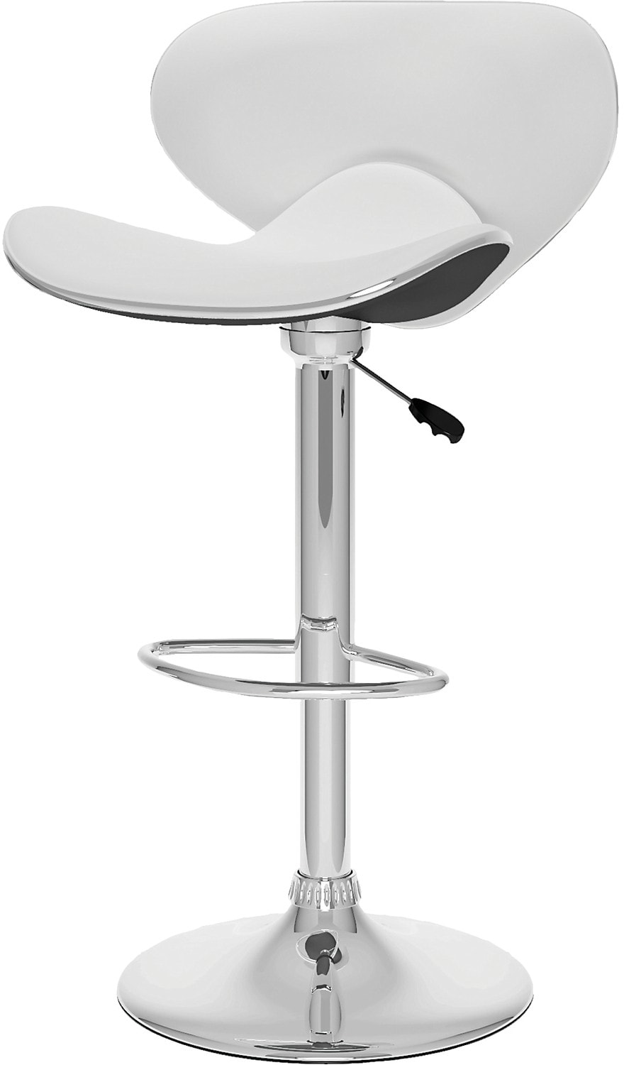 CorLiving Curved Form-Fitting Adjustable Bar Stool - White