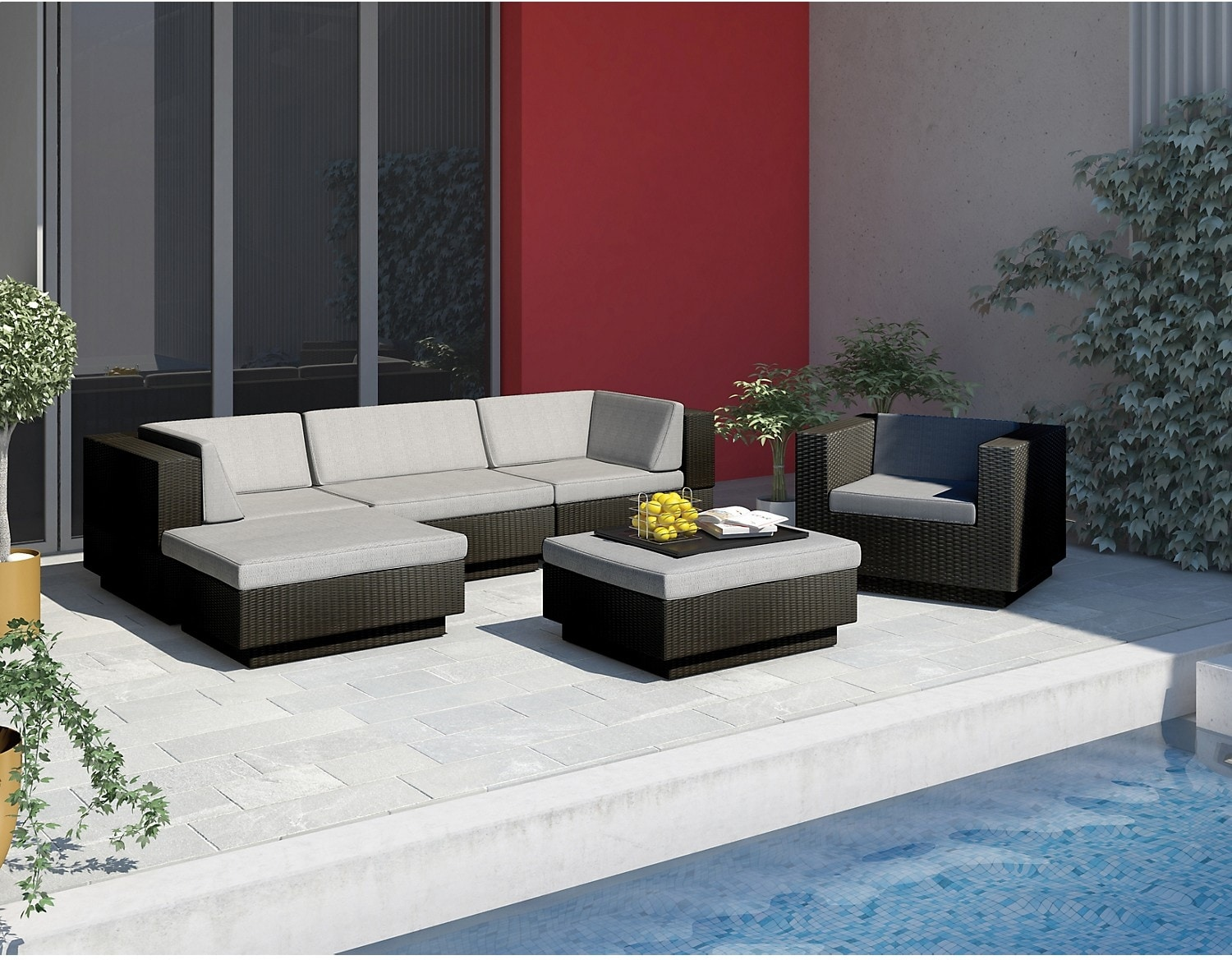 Park Terrace 6 Piece Patio Set – Black