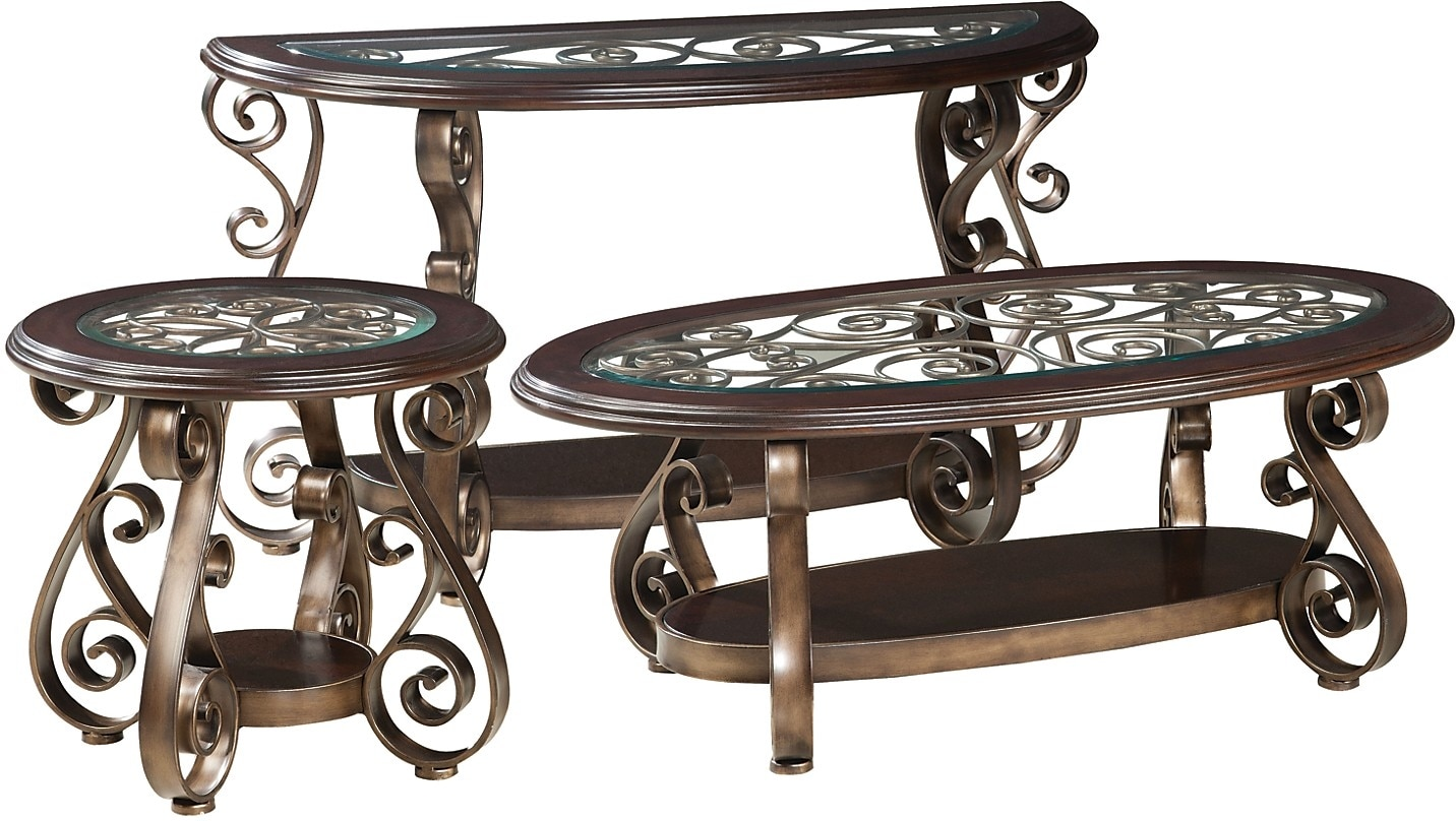 Accent and Occasional Furniture - Bombay 3-Piece Coffee, End and Sofa Table Package