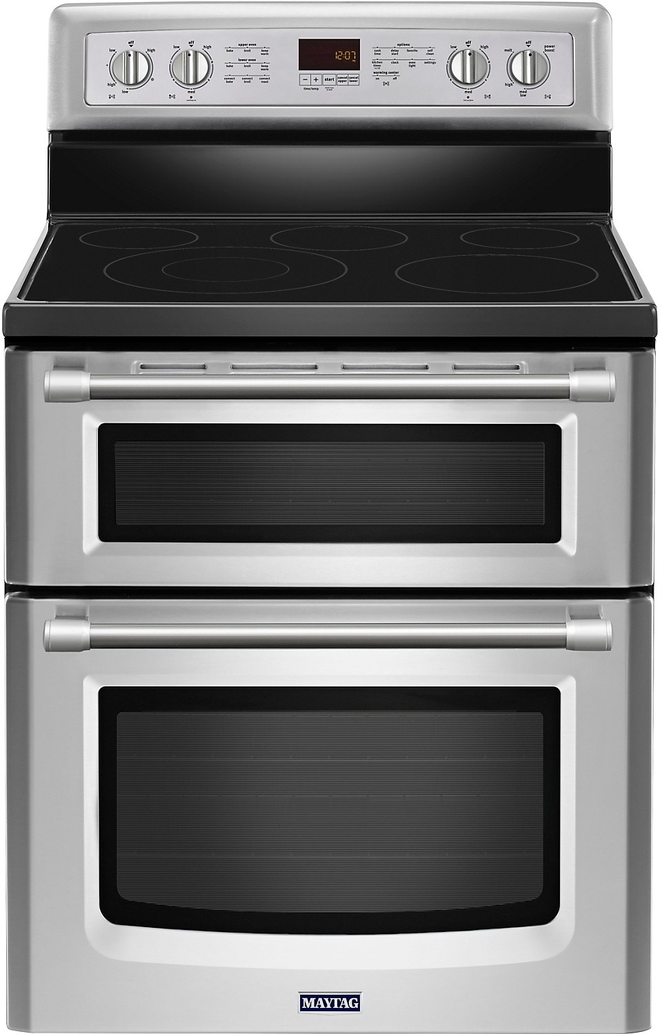 Maytag gemini 6 7 cu ft double oven electric range stainless steel united furniture - Maytag electric double oven range ...