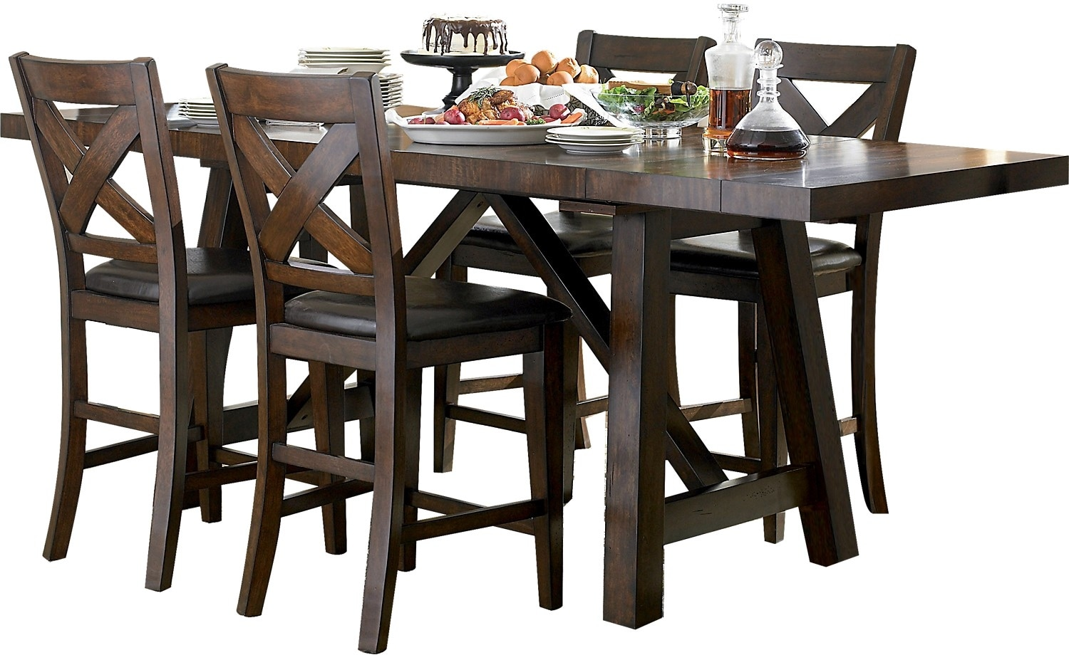 Adara 5 piece counter height dining package rectangle for Tall dinner table set