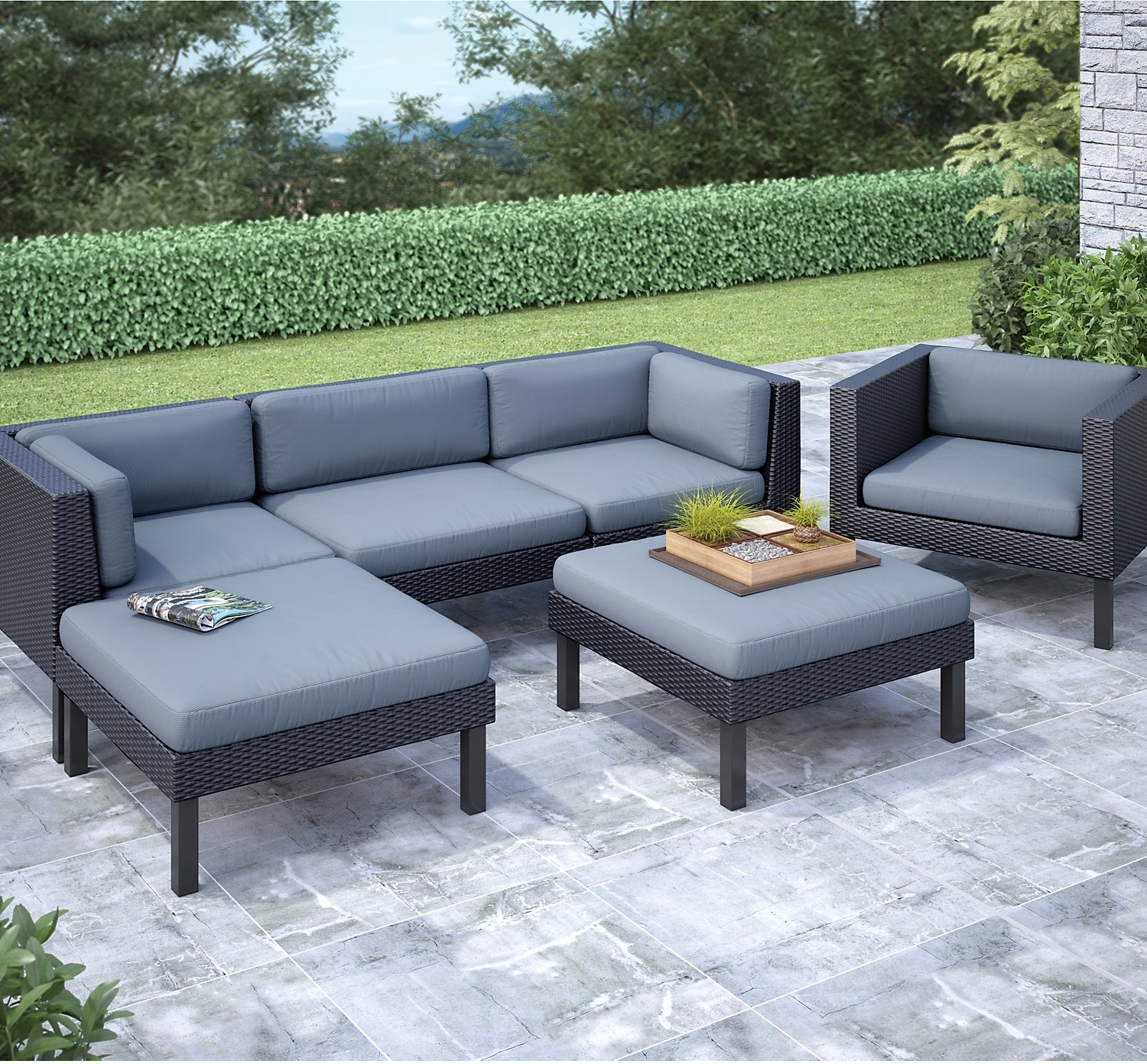 Oakland 6-Piece Patio Sectional – Black