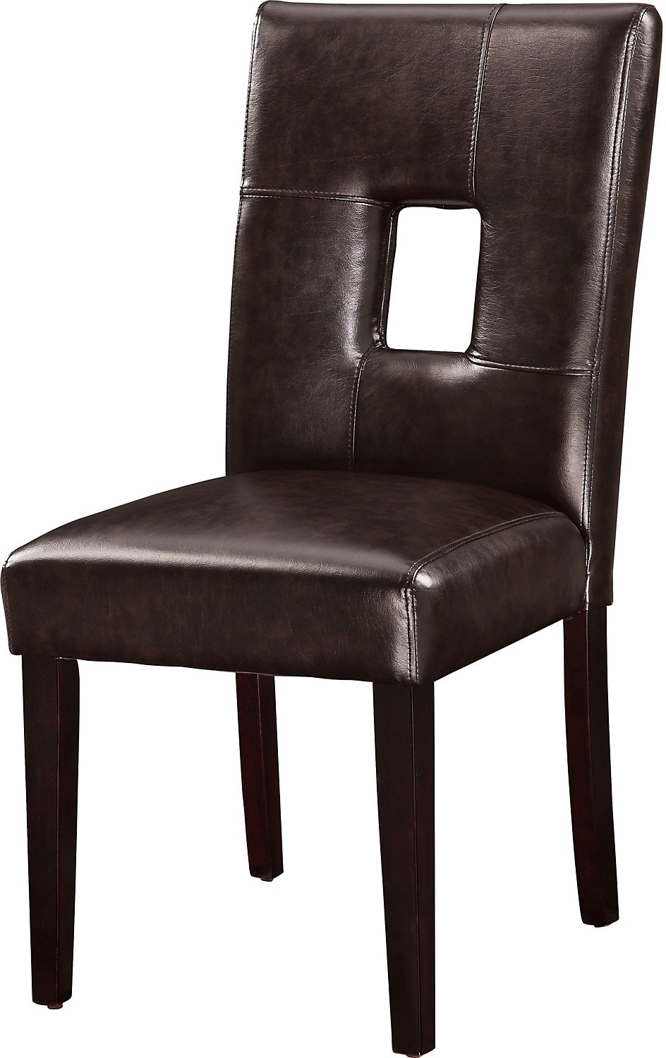 Dining room furniture mckena faux leather dining chair for Brown leather dining room chairs