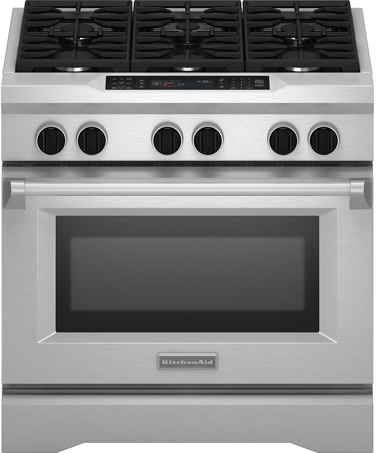 "Products  KitchenAid 36"" Dual Fuel SlideIn Range  Stainless Steel"