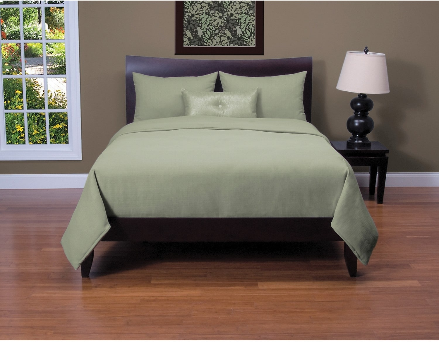 Accent and Occasional Furniture - Belfast 4 Piece Queen Duvet Cover Set - Sage
