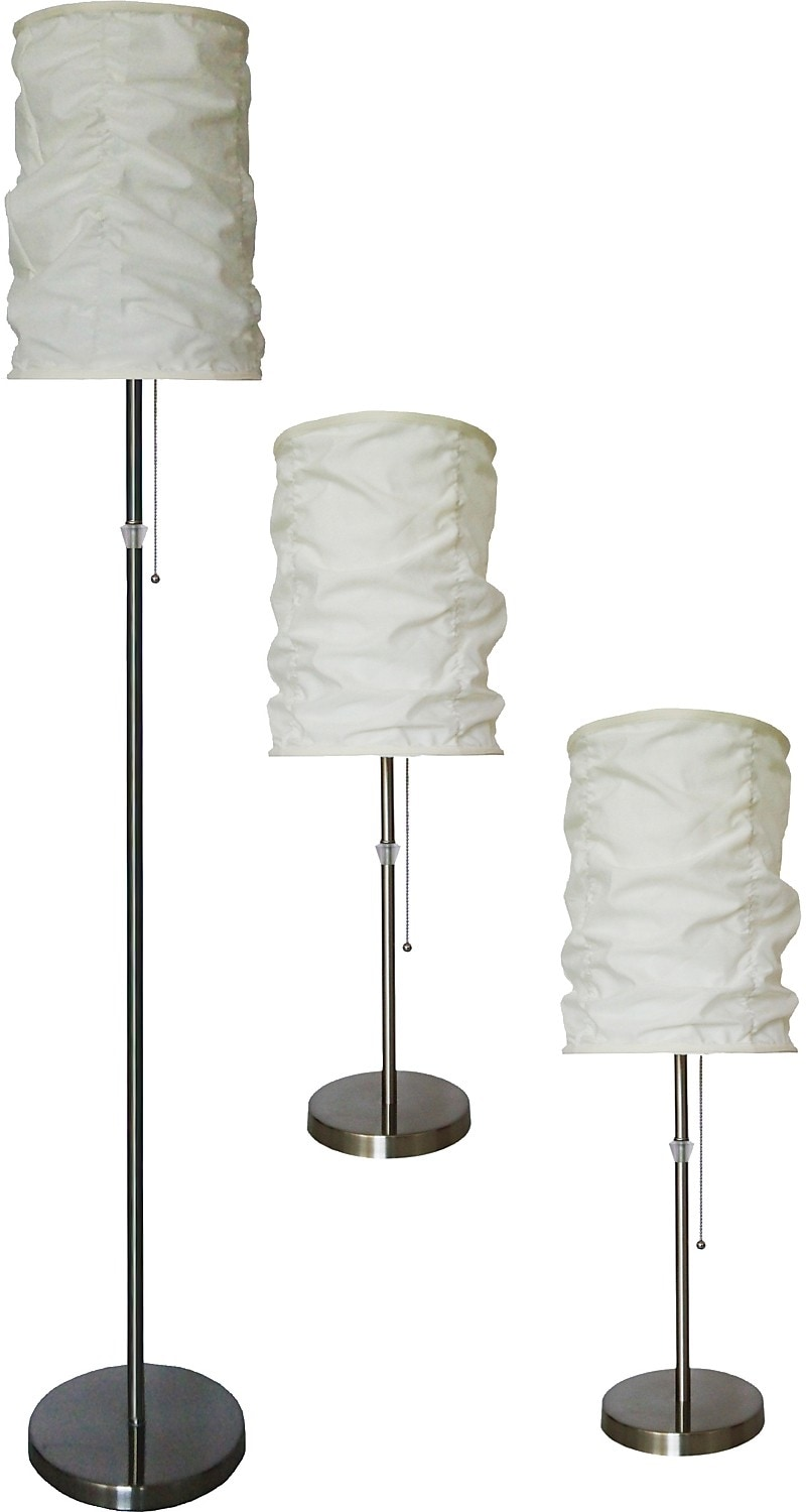 Brushed-Steel 3-Piece Floor and Two Table Lamps Set with Wrinkled Shade