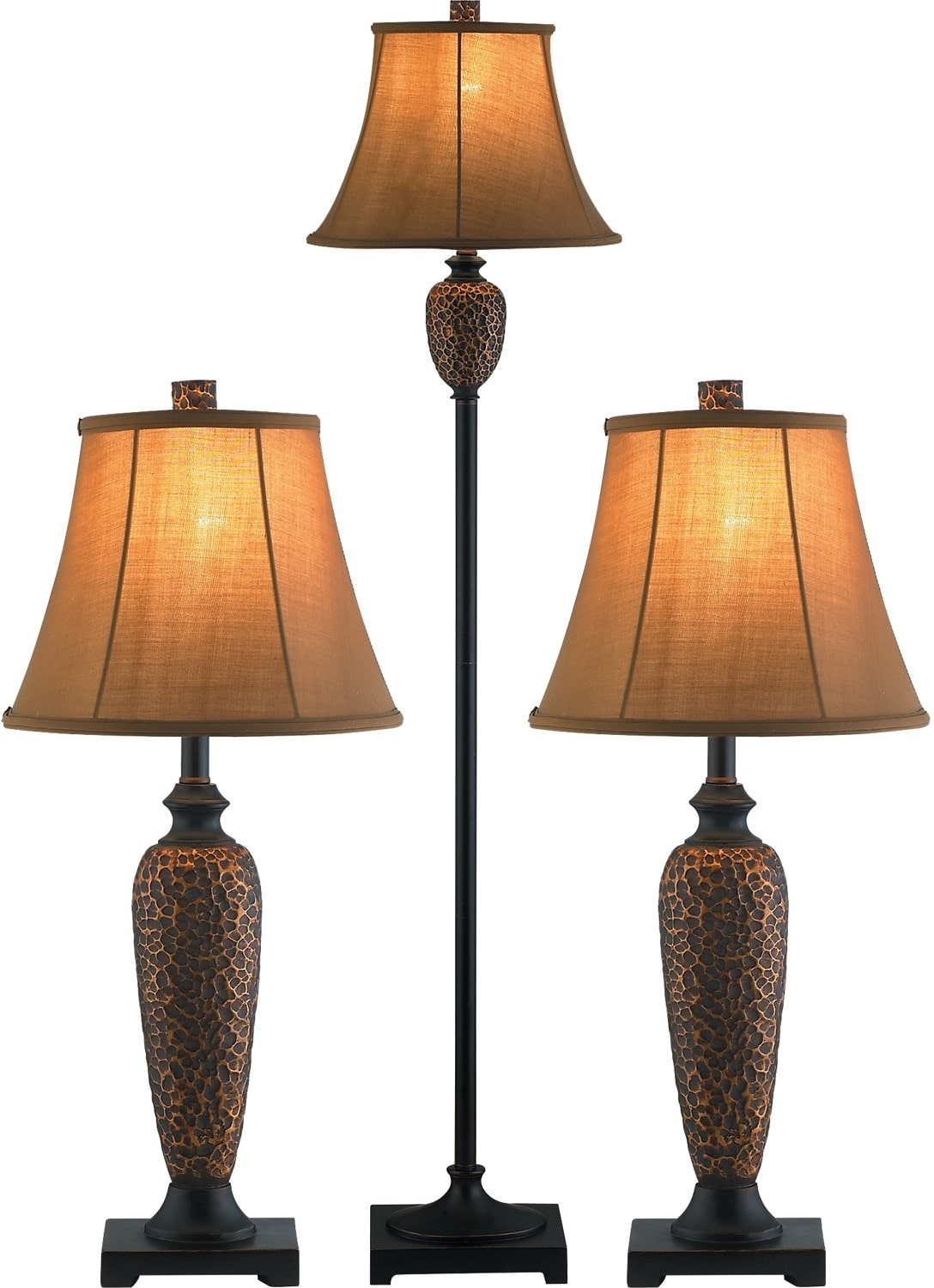 Hammered bronze 3 piece floor and two table lamps set for Home decorators lamps