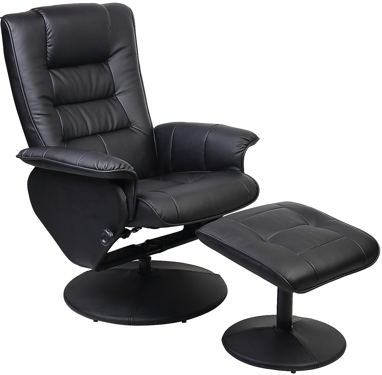 Living Room Furniture - Duncan Reclining Chair w/Ottoman - Black