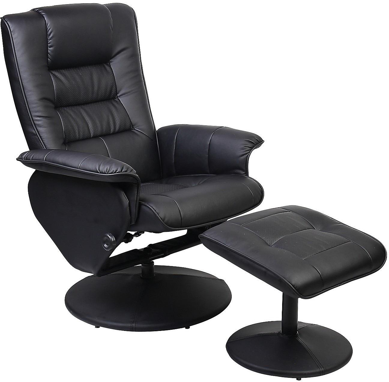 Living Room Furniture - Duncan Reclining Chair w/Ottoman - Black
