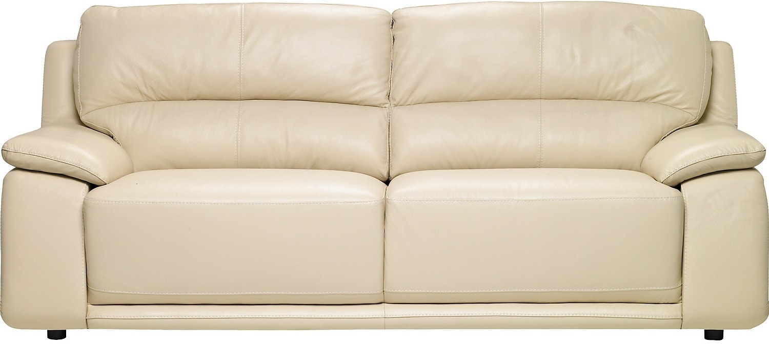 Living Room Furniture - Chateau d'Ax 100% Genuine Leather Sofa - Ivory