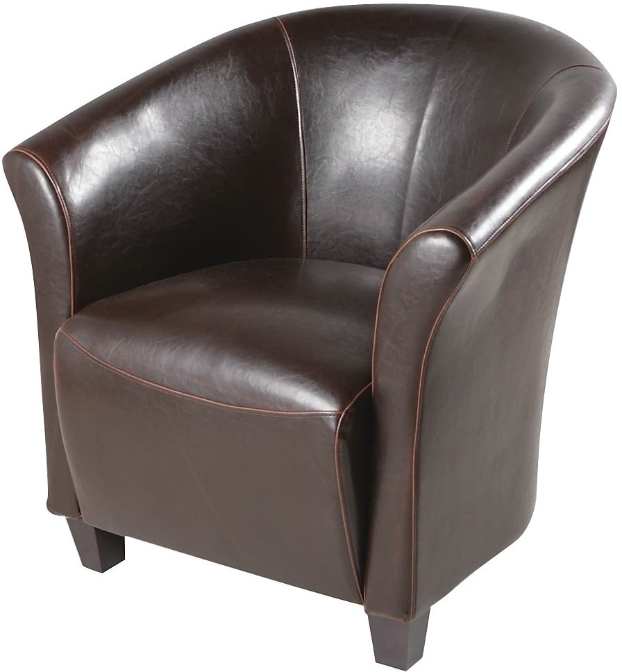 Ethan faux leather accent chair brown the brick for Occasional furniture