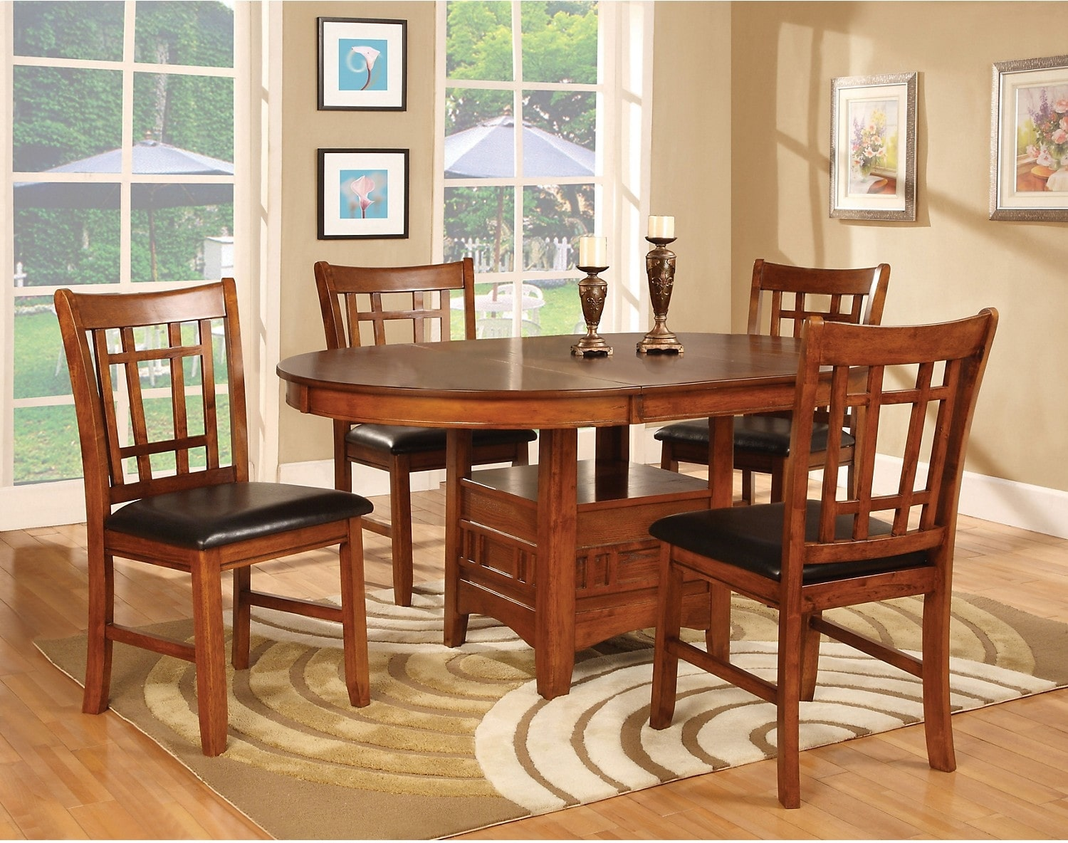 Dalton 5 piece oak dining package the brick for The brick dining room sets
