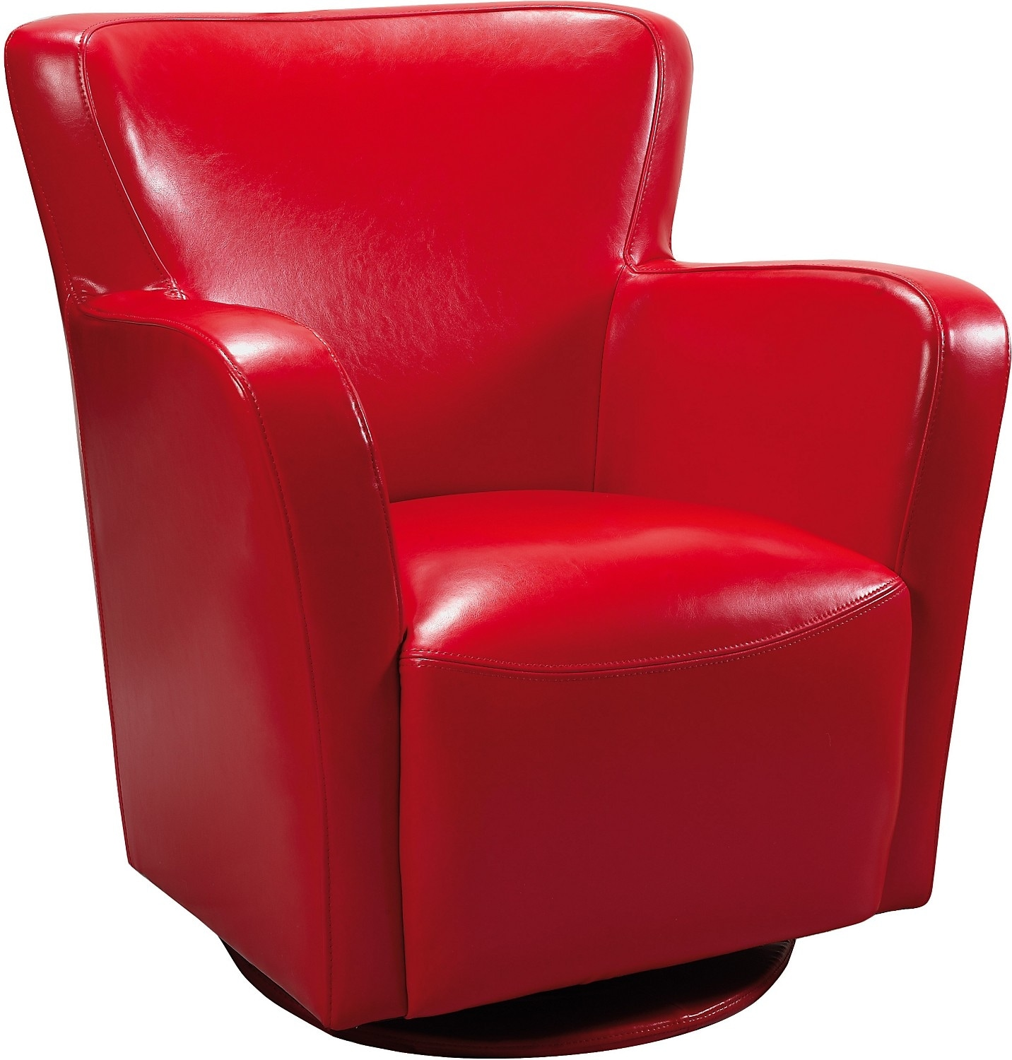Bonded Leather Swivel Chair Red