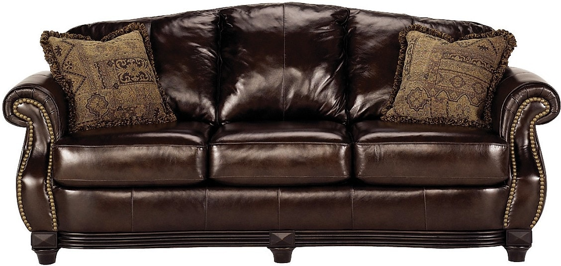 Living Room Furniture - Prestige 100% Genuine Leather Sofa - Brown